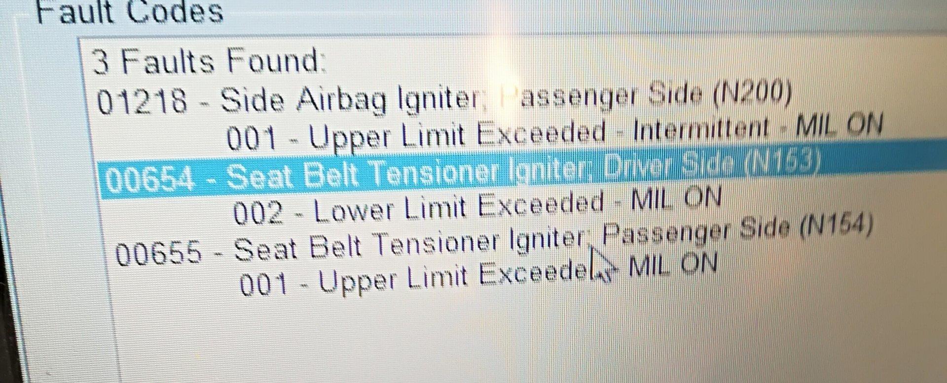 00655 Seat Belt Tensioner Igniter Elcho Table